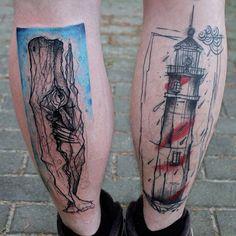 """#Instatattoo#ink#inked#whale#lighthouse#legs#colortattoo#sketch#kamilmokot#berlin#berlintattoo#tattoo#tatuaż#animal#art#illustration#custom#"""