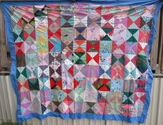 ANTIQUE QUILT TOP HILLS VALLEYS FEED SACK PATCHWORK VINTAGE QUILTS HANDMADE