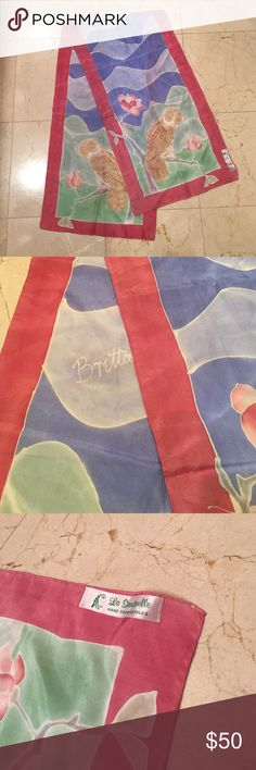 "Hand painted 100% silk scarf by Britta Beautiful hand-painted 100% silk scarf by Britta. 14.5"" X 58.5"". Unique design, very hard to find! Britta Accessories Scarves & Wraps"