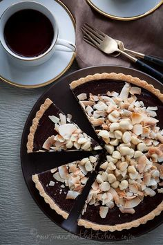 Chocolate Coconut Macadamia Nut Tart from Gourmande in the Kitchen Chocolate, Coconut, Macadamia Nut Tart (Gluten Free, Paleo, Vegan)