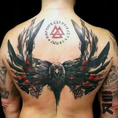 Black And Red Ink Crow Mens Back Tattoo