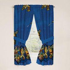 Teenage Mutant Ninja Turtles Tmnt Window Panels Curtains Drapes Set Of 2 Blue Dark Navy Green
