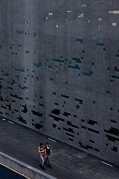 holes in concrete walls at Espacio de las Artes, Santa Cruz. Architects Herzog & de Meuron.
