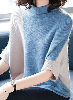 Regular sweater in color block technique. Knit Fashion, Sweater Fashion, Womens Fashion, Crochet Clothes, Diy Clothes, Fall Outfits, Fashion Outfits, Fashion Trends, Lookbook