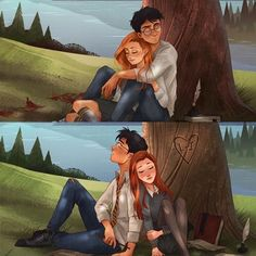 Harry Potter and Ginny Weasley ------- James Potter and Lilly Evans Harry Potter World, Harry Potter Comics, Fanart Harry Potter, Harry Potter Kunst, Images Harry Potter, Harry Potter Couples, Arte Do Harry Potter, Harry Potter Artwork, Harry Potter Drawings
