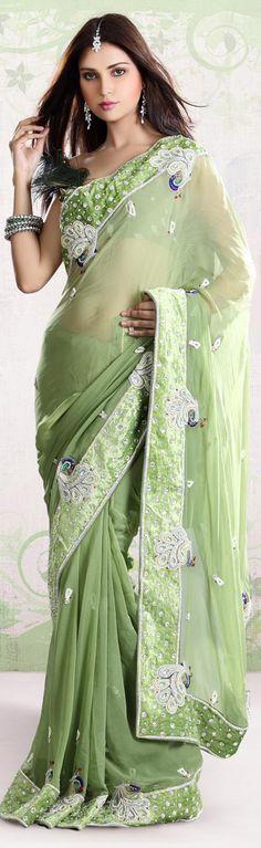 Light green saree with peacock design border