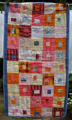 Made of linen, recycled from shirts and skirts from the charity shop or home worn. Machine sewn and roughly hand quilted.