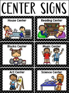 preschool classroom set up Here are some printable center signs for your Pre-K or Preschool classroom. I have a free set of signs available, but the set of center signs in my Preschool Classroom Labels, Preschool Center Labels, Toddler Classroom, Kindergarten Centers, Classroom Decor, Preschool Education, Classroom Organization, Preschool Sign In Ideas, Preschool Learning Centers