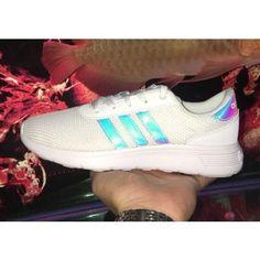 504127ac91cd Iridescent Clover Adidas NEO Lite Racer Mesh White Grey Hologram Sportswear  Trainers