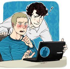 "John: WHAT IS THIS?! Sherlock: A beautiful thing named ""Johnlock""."