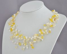 Chunky Yellow Necklace, Yellow Bridal Necklace, White  Pearl Necklace, Yellow Macadam Necklace, Bridal Necklace(FN0299). $20.00, via Etsy.