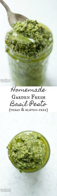 Homemade Garden Fresh Basil Pesto has garden fresh flavor, is a great way to use up basil from the garden and goes amazing over pasta or as a marinade for fish or chicken.