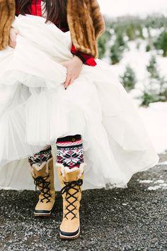 Christmas weddings bridal looks - photo by Alicia King Photography http://ruffledblog.com/christmas-tree-farm-wedding-inspiration-with-tradition