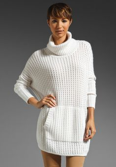 AUTUMN CASHMERE Textured Cowl Poncho in Vanilla at Revolve Clothing - Free Shipping!