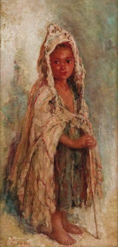 Edouard VERSCHAFFELT (1874-1955) Enfant berbère, Huile sur toile.