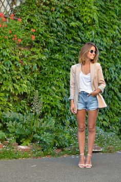 cut offs with a white tee, blazer & heels - dressed up casual