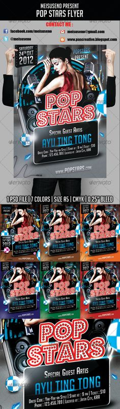 Pop Stars Flyer great flyer to promote music event and others Specification : 1) 1 .PSD files 2) Size A5 3) CMYK Color, 300 dpi, bleed 4) Minimum use adobe Photoshop CS 3 5) Model are not included in download file 6) User Guide.pdf contain how to customise,