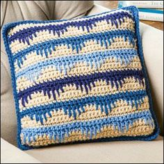 Spiked Stripes Pillow in Red Heart Super Saver from Crochet World magazine