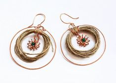 Afro hoop earrings in copper and hemp with green crystal inserts, african inspired hoop earrings, copper and hemp hoops, tribal earrings Hemp Jewelry, Textile Jewelry, Hippie Jewelry, Metal Jewelry, Unique Jewelry, Tribal Earrings, Hoop Earrings, Black And White Fabric, Love Natural