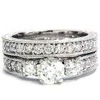 1.50CT Vintage Diamond Engagement Wedding Ring Set 14K