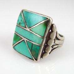 Vintage Channel Inlay Turquoise Ring, Navajo