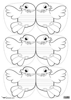 Colom de la Pau amb missatge.  Plantilles per imprimir Diy And Crafts, Crafts For Kids, Arts And Crafts, Free Coloring, Coloring Pages, Peace Crafts, Shape Posters, Sunday School Crafts, Bible Crafts