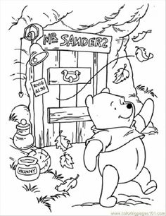 free coloring autumn day | free printable coloring page Pooh In Windy Day (Cartoons > Winnie The ... by aurelia