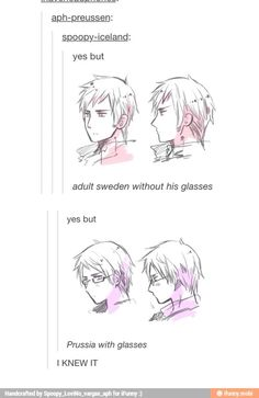 Hetalia official- Prussia and Sweden with and without glasses Dennor, Spamano, Usuk, Nordics Hetalia, Prussia Hetalia, Hetalia Funny, Hetalia Manga, Hetalia Fanart, Bad Touch Trio