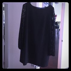 Black long lace sleeve dress Black long lace sleeve dress. Worn once. Sleeves come down to wrist and are slightly stretchy so great to dance in . Hits a couple inches above the knee. Back zipper . White House Black Market White House Black Market Dresses Mini