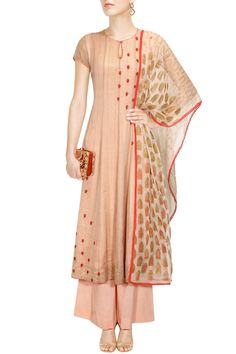 Blush and red floral embroidered kalidar kurta and palazzos set available only at Pernia's Pop Up Shop.