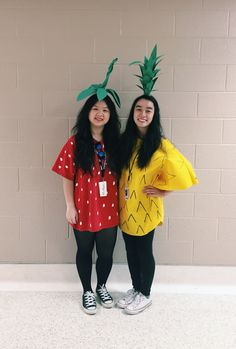 DIY strawberry and pineapple Halloween costumes