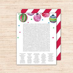 """Purchase this word search game with a holiday ornament design to immediately download and print your own DIY christmas stocking stuffers for teens and adults. This xmas puzzle is a great challenge that will entertain for hours. It's perfect if you're looking for a unique last minute gift for under $5. It features a red and white striped backing that says """"Merry Christmas"""". Print it out, roll it up and put it in a stocking. The backing will look like wrapping paper!"""