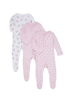 """F&F"" F&F 3 Pack of Happy Bunny Sleepsuits at Clothing at Tesco"