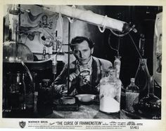 Peter Cushing as Victor Frankenstein in Hammer Film Productions' The Curse Of Frankenstein (1957)