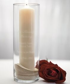 Personalized Wedding Memorial Vase...love the sand in the bottom