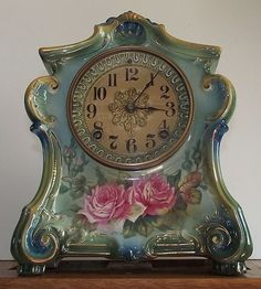 """Superb Royal Bonn """"La Fontaine"""" Red Roses China Case Clock with Ansonia 8 Day Time & Strike Movement  Ca. 1900."""