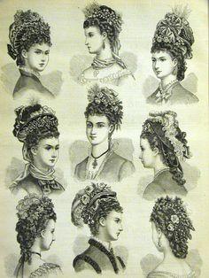 Victorian Ladies Hats WINTER BONNETS & HAIR STYLES 1875 Antique Print Matted #Vintage