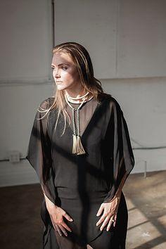 Christy Eastland Styling   Cam Berlin 2015  Sheer Black Dress + Leather Necklace + Sleek Back Hair  Photographer: Christine Gosch MUA: Amanda Marshall Stylist: Christy Eastland Apparel: Bcbgmaxazria Model: Cam Berlin