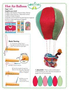 Hot air balloon template part 1 parts) Hot Air Balloon Paper, Diy Hot Air Balloons, Baby Balloon, Felt Patterns, Stuffed Toys Patterns, Felt Diy, Felt Crafts, Balloon Template, Balloon Crafts