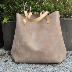 Leather Tote bag / large shopper BIG and zipper pouch in sand beige distressed Italian leather and natural bridle leather straps
