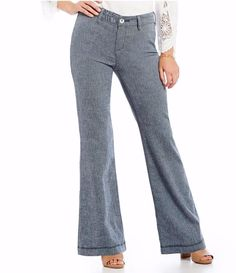 Nydj Nat Claire Wide Leg Jeans Textured Linen Twill Size 4 $114 FTC #3869