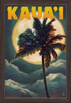 Kaua'i, Hawaii - Palm and Moon - Lantern Press Artwork (16x24 Giclee Art Print, Gallery Framed, Espresso Wood), Multi