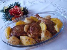 Udka z kaczki z jabłkami i pomarańczą  - medium Pretzel Bites, Chicken Wings, Sausage, Potatoes, Bread, Vegetables, Recipes, Food, Sausages