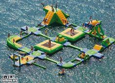 HUGE bouncy float in the water