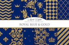 Royal Blue and Gold Digital Paper. Patterns. $3.00