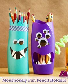 Monsterously Funny Pencil Holders from Empty Plastic Boxes