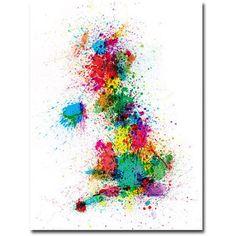 Trademark Art UK - Paint Splashes Canvas Wall Art by Michael Tompsett, Size: 24 x 32, Multicolor