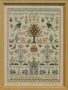 """The Birthday Sampler"" is the title of this cross stitch pattern from Moira Blackburn. The cross stitch pattern is stitched with DMC threads..."