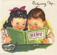 Charlot-Byj-Vintage-Greeting-Card-Little-Girl-Boy-Menu-Birthday-Unused