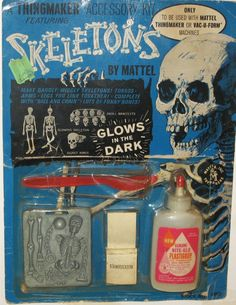 06 Oct - Skeleton 'Thingmaker' kit by Mattel, with night glow 'plastigoop'! 1960s Toys, Retro Toys, Momento Mori, Halloween Toys, Vintage Halloween, 1960s Halloween, Halloween Horror, Happy Halloween, Vintage Games